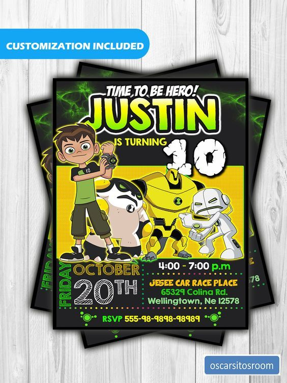 ben 10 invitation ben 10 birthday