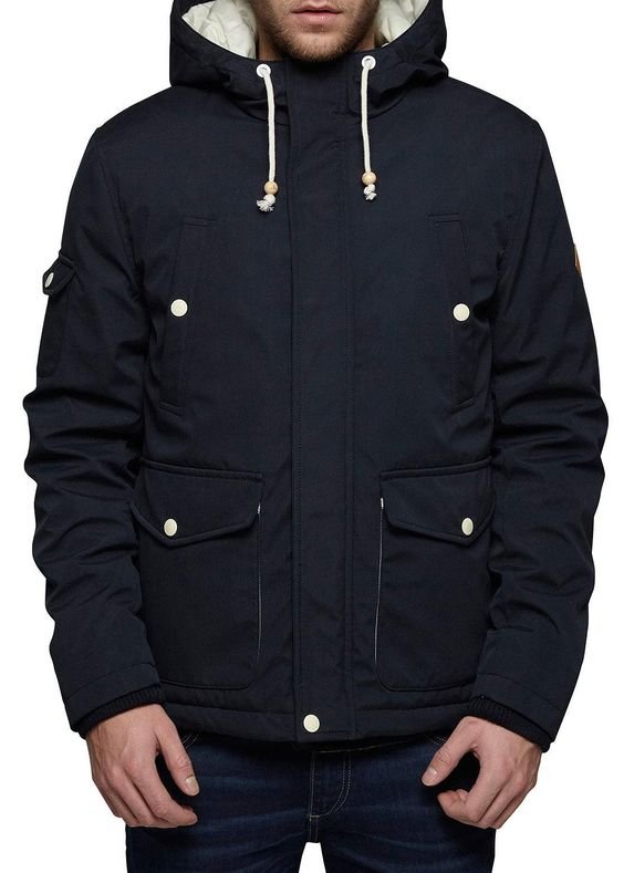 JACK & JONES ORIGINALS Herren Winter Jacke HIKE SHORT PARKA Black Navy schwarz dunkelblau (L, BLACK schwarz)