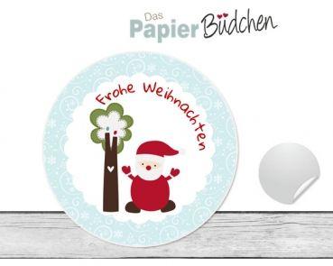 """www.papierbuedchen.de - 24 Aufkleber """" Bäumchen """" (W33) - Weihnachten"""