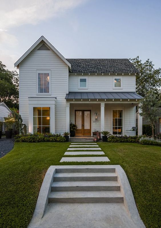 Maestri, LLC + Modern Farm House Love this cute little farmhouse we would love to walk in and see either Water's Edge furniture or Woodlands in this home!: