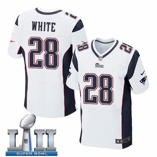 Nike Patriots 28 James White White 2018 Super Bowl Lii Elite Jersey Nfl New England Patriots Super Bowl Jerseys Sports Shirts