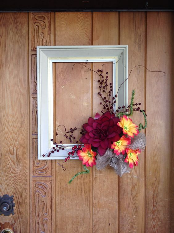 Autumn wreath using an old picture frame for my front door for Decorative door frame ideas