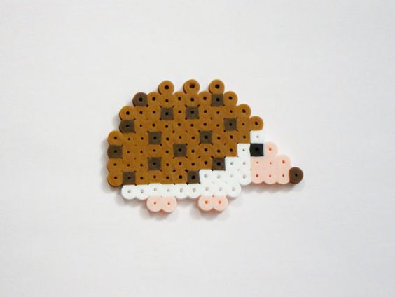 HEDGEHOG // Brown White and Peach Cute Kawaii Perler Beads Animals // Magnet Keychain Pin (pick your finish)