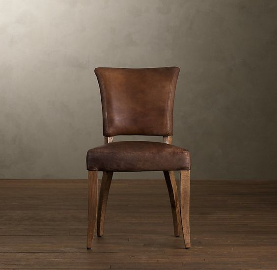 dining chair leather arm side chairs restoration hardware