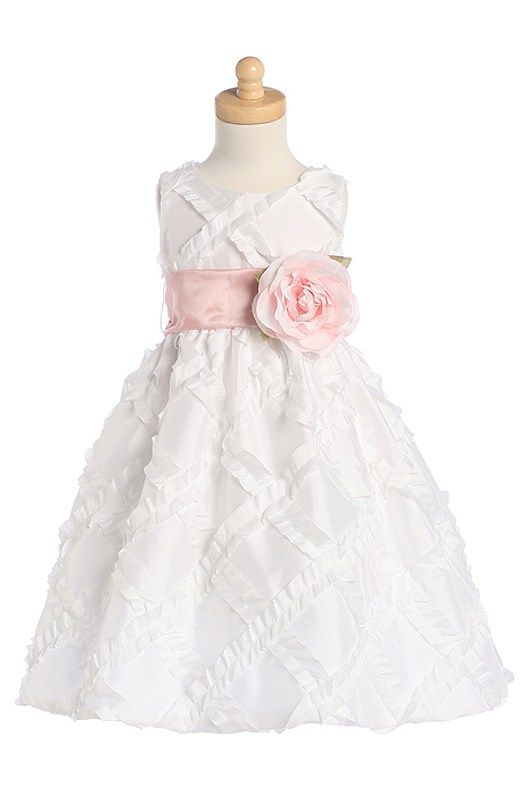 A-line Scoop Taffeta Tea-length Flower Girl Dresses 05379 – HoneyDress.com