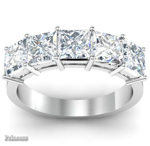 Princess Cut Anniversary 5 Stone Diamond Ring