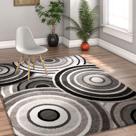 Well Woven Melbourne Modern Circles Blue Grey Area Rug 7 10 X 9 10 Blue Rugs On Carpet Area Rugs Contemporary Area Rugs