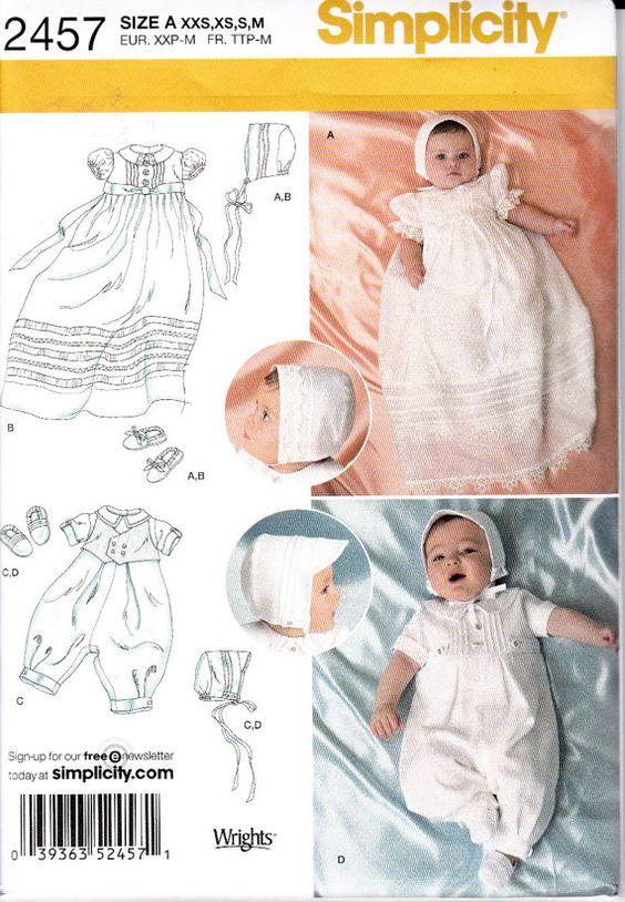 Simplicité 2457 Bébé ensembles Outfit Shoes Bonnet robe de robe de baptême Robe de bénédiction Couture patron taille XXS XS S M Nouvelle et non