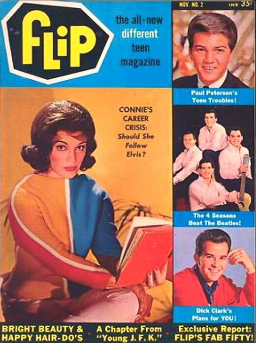 Flip Magazine — with Connie Francis, Paul Peterson, Frankie Valli and Dick Clark.………………..For more classic 60's and 70's pics please visit and like my Facebook Page at https://www.facebook.com/pages/Roberts-World/143408802354196
