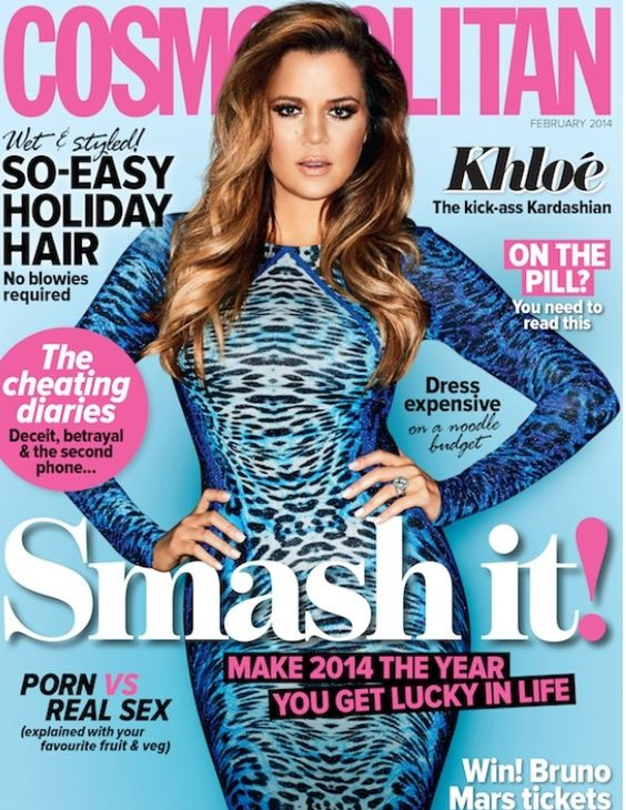 Khloe Kardashian in leopard print dress on Cosmopolitan Australia