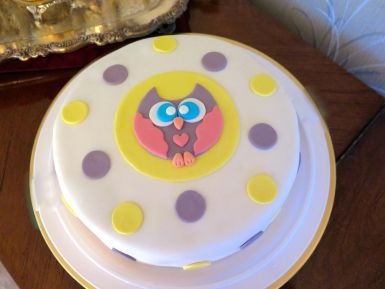 Super cute owl cake! Love the colours!