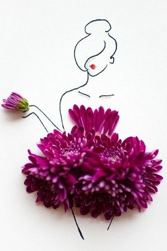 Clever Floral Fashion Sketch - 30 Cool Fashion Sketches, <a href=