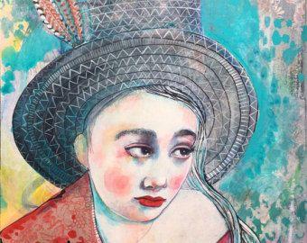 Penny voor uw gedachten - originele mixed media schilderij door Maria tempo-Wynters