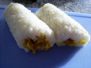 Indonesian Food. Lemper. Sticky Rice Rolls filled with Chicken. (Recipe in Dutch)
