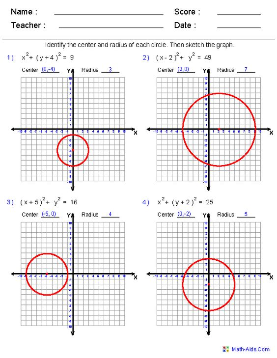 Equations Of Circles Worksheet: These Dynamically generated worksheets are great for practicing    ,