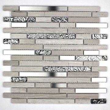 Mosaique verre pierre et inox sol et mur douche et salle de bain novak mosaiques pinterest for Carrelage inox pas cher