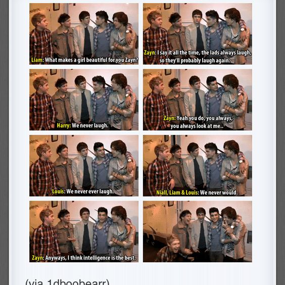 Lol and they laugh anyways ...it's alright Zayn I'll study hard in school just to be intelligent enough for you <333
