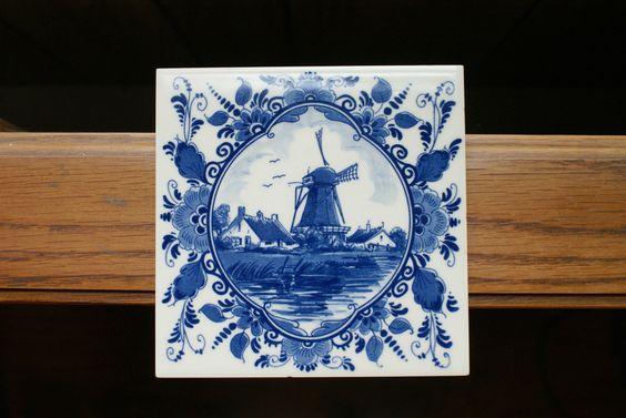 Old Vintage 1982 Provimi Veal Royal Goedewaagen Blue Delft Holland Windmill Tile | eBay
