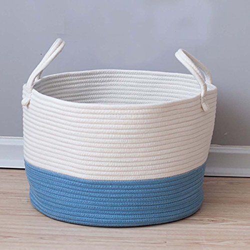 Amazon Com Toys Storage Basket Extra Large Woven Rope Baskets With Handles For Blankets Clothes T Toy Storage Baskets Baby Clothes Storage Baby Toy Storage