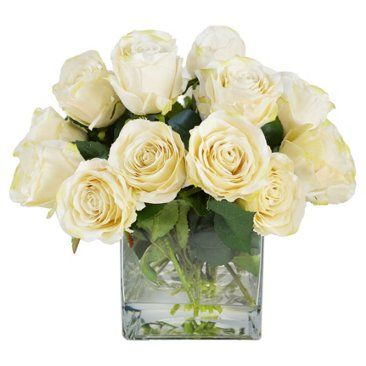 "Check out this item at One Kings Lane! 18"" Roses in Vase, Faux"