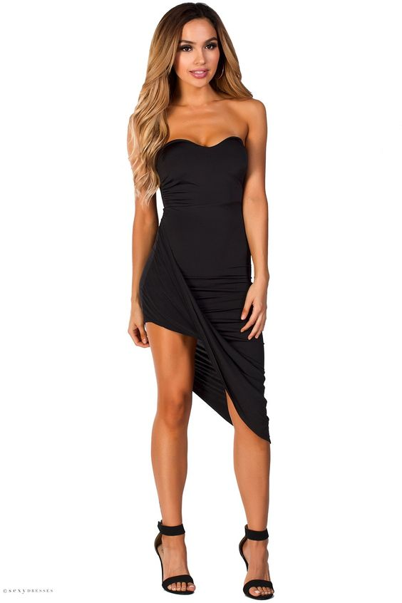 Christina&quot Black Draped Asymmetrical Strapless Sweetheart Dress ...