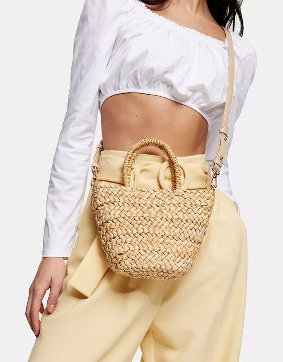 Topshop Mini Straw Tote bag in Natural ASOS