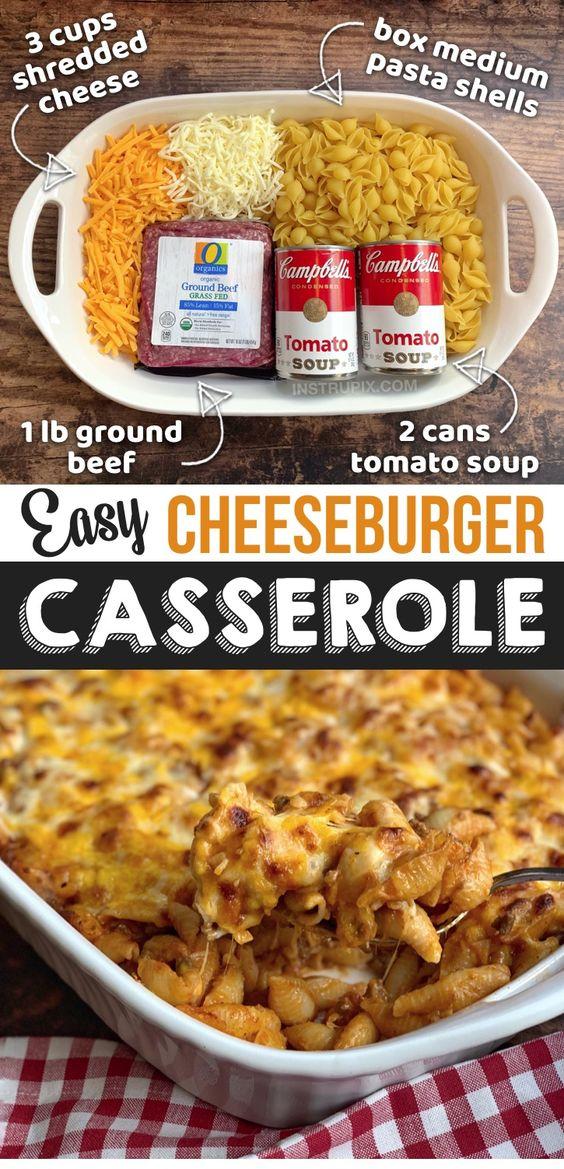Quick & Easy Dinner Idea (Just 4 Ingredients & Kids LOVE it!) Cheeseburger Casserole Recipe