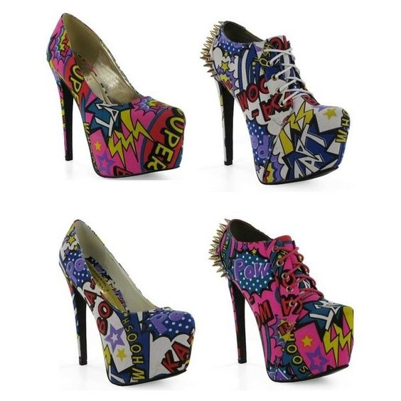 Pow! Chockers' comic book heels are coming ❤ liked on Polyvore