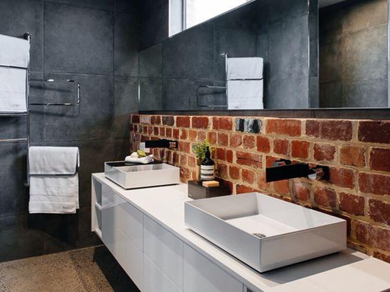 Exposed Brickwork Polished Concrete Ceaserstone Vanity