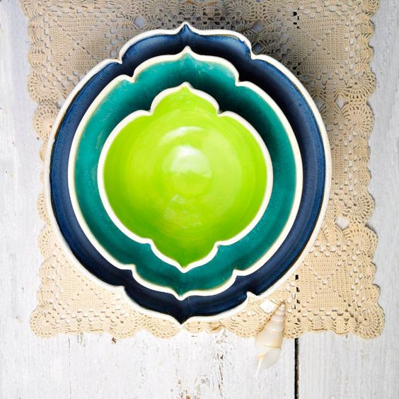 ceramic nesting bowls ombre geometric vessels in Beach Cottage Arabesque series set Indigo, turquoise, neon green