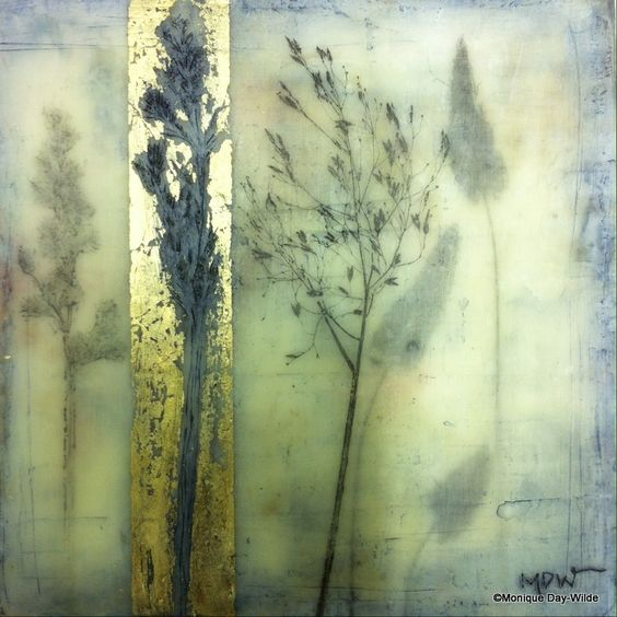 Grass - encaustic mixed media by Monique Day-Wilde: