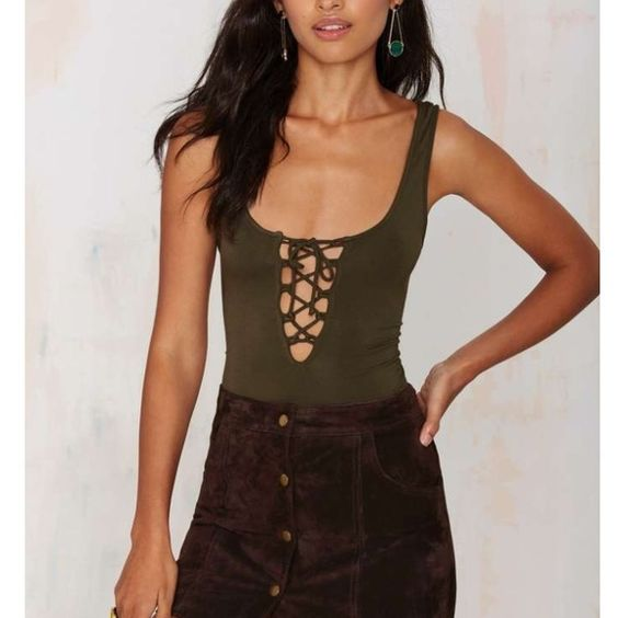 Lace Up Body Suit No defects or holes. Similar to Reformation! Nasty Gal Tops Tank Tops