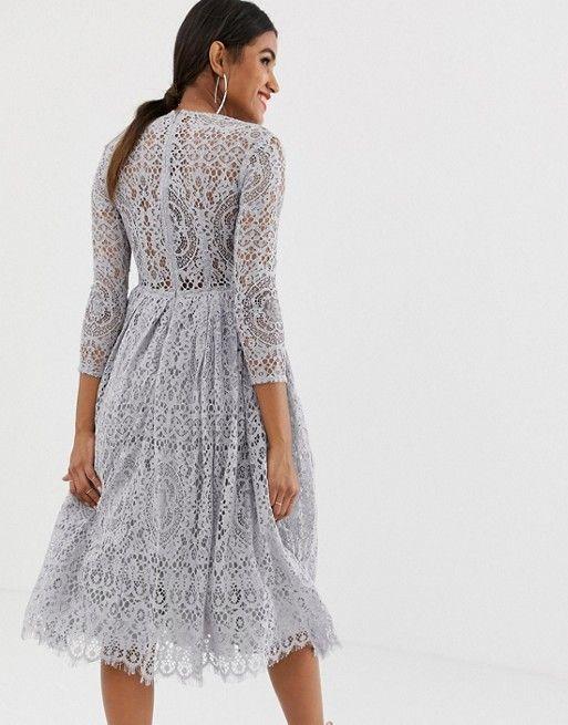 Asos Design Asos Design Long Sleeve Lace Midi Prom Dress Prom Dress Trends Long Sleeve Lace Dresses