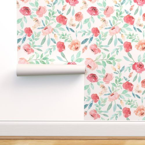 Floral Watercolor Wallpaper Large Watercolor Floral On Pink By Taylor Bates Custom Removable Self Adhesive Wallpaper Roll by Spoonflower