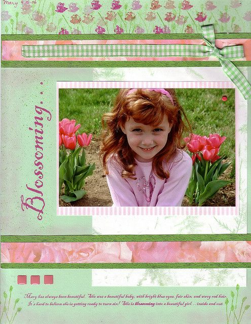 Blossoming - scrapbook page March 20 09 by judy1223, via Flickr