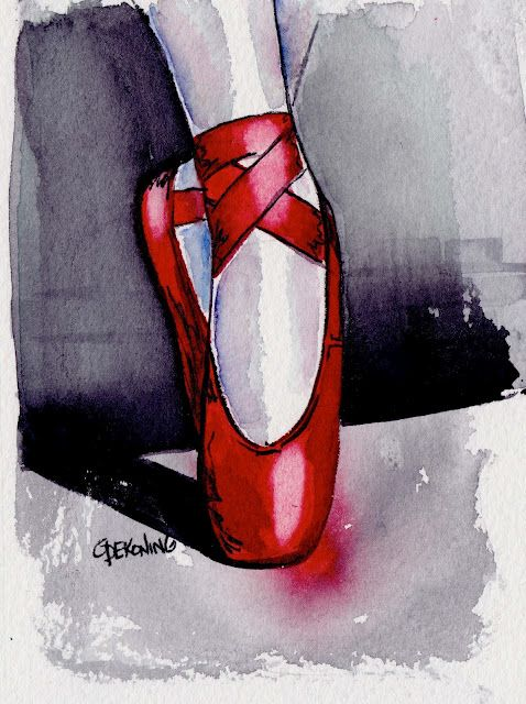 red pointe shoes in art