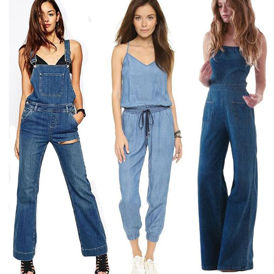 Damen Overalls Jumpsuit Jeans Denim Pants Latzhose Capri Bermuda Träger Hose Neu in Kleidung & Accessoires, Damenmode, Jeans   eBay