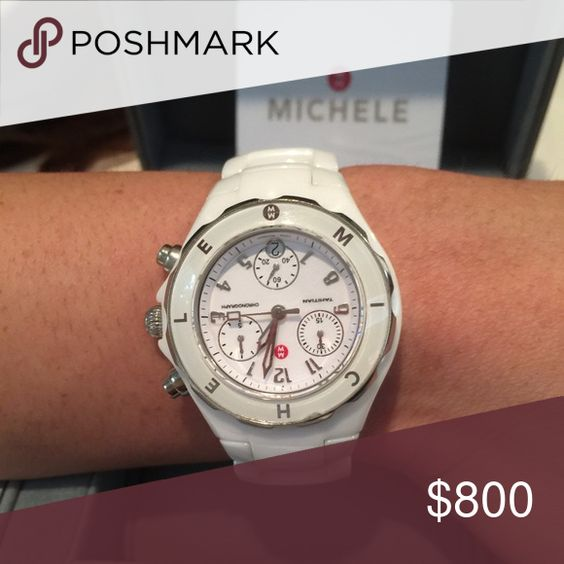 Michelle white ceramic watch, White porcelain Michele watch worn twice . Still has tags and box and extra links . Michele Accessories Watches