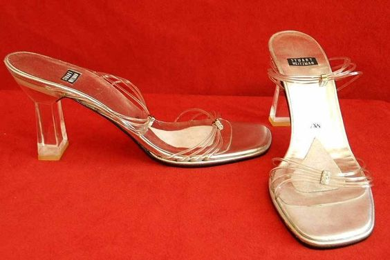 DIsappearing Shoes Stuart Weitzman Translucent Lucite Mules Sandals Diamond  #StuartWeitzman #Strappy