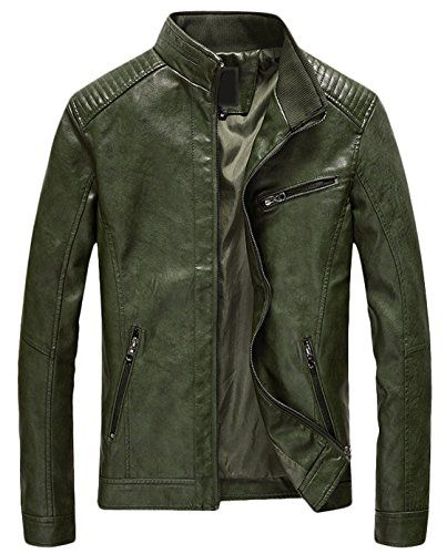 Youhan Men's Casual Zip up Slim Bomber Faux Leather Jacket (Small, Army Green)