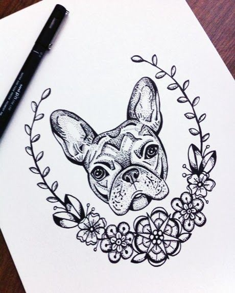 I like the border around this tattoo!  Deer Little Fawn: Animal Drawings