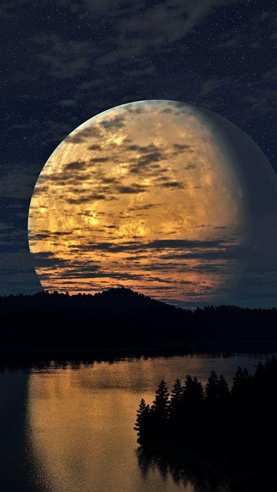 night-sky-moon-trees-river-reflection