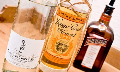 Orange Liqueur Awards -- Best Overall: Giffard Premium Curaçao Triple Sec, Cointreau and Clément Créole Shrubb bottles