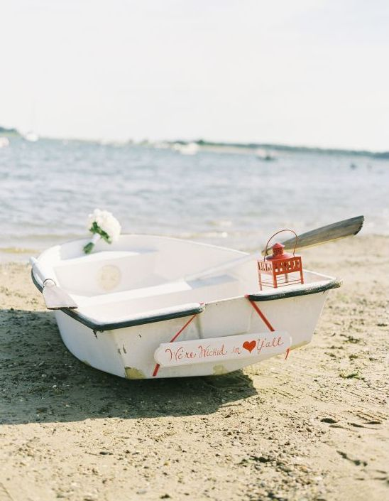nautical wedding 'getaway car' (love this!) for an East Coast red and navy lobster themed wedding! See all the ideas here: http://burnettsboards.com/2012/09/maine-lobsters/
