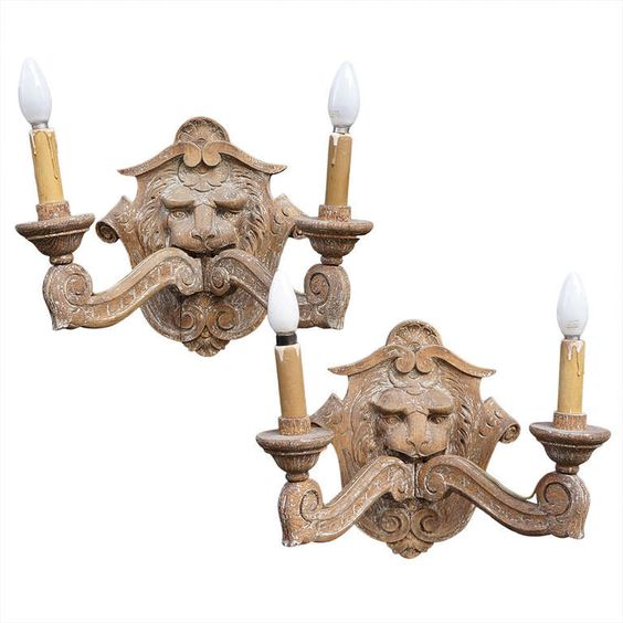 Pair of Carved Oak Victorian Wall Lights Wooden walls, Sconces and Wooden wall lights