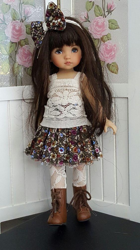 Hand-knit sweater and skirt set made for Effner Boneka  dolls ebay seller kalyinny: