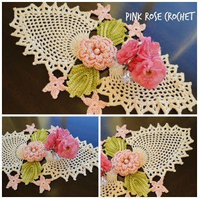 PINK ROSE CROCHET: Centrinho Abacaxis e Flor Rosa