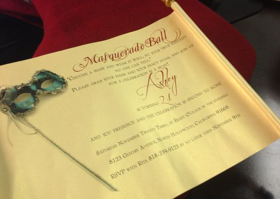 Masquerade+Ball+Invitation+Scroll++Scroll+by+AmiraDesign+on+Etsy,+$65.00