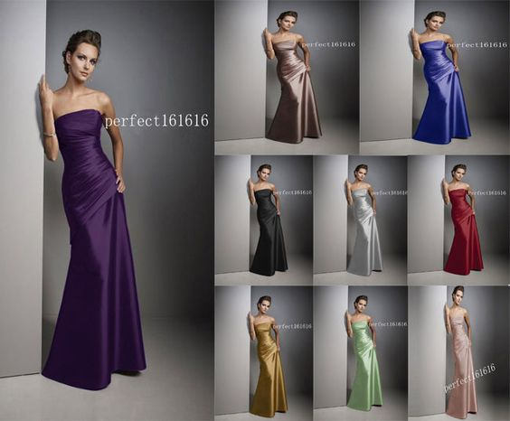 8 Colour Satin Dress Formal Prom/Bridesmaid Cocktail Party Evening Dress Sz 2-18