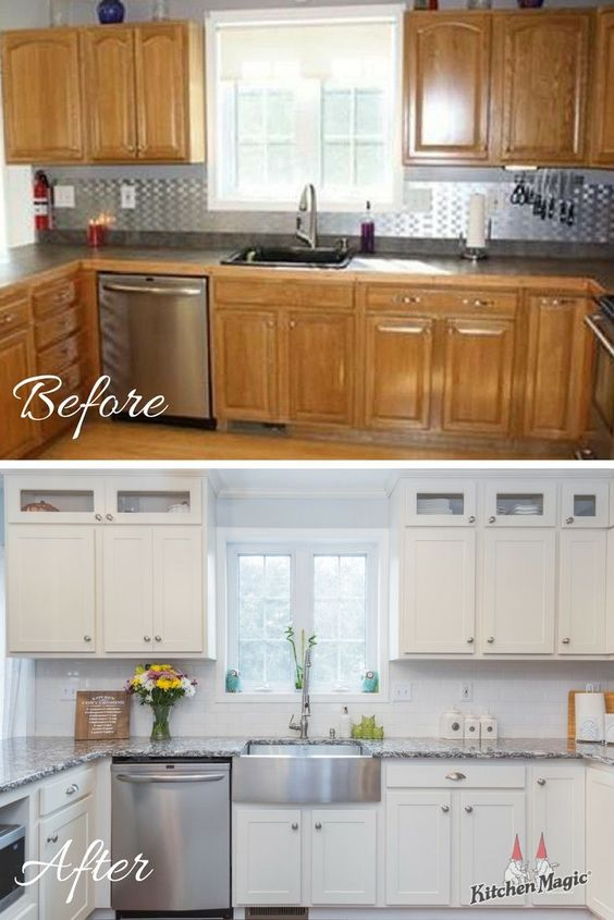 This week's before and after features one of our latest remodels. Cabinet refacing brought this little beauty from drab to beyond-fab! Topped off with glass-front cabinets in the soffit area, a stainless-steel farmhouse sink, and Cambria Quartz countertops in Braemar, this kitchen is already one of our favorites!   #tbt #throwbackthursday #beforeandafter #kitchenbeforeandafter #cabinetrefacing